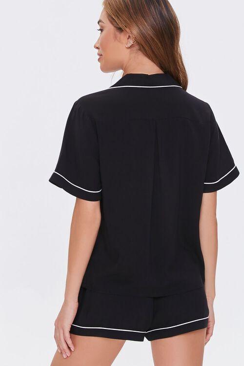 Piped-Trim Shirt & Shorts Pajama Set, image 3