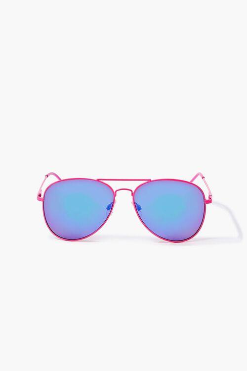 NEON PINK/MULTI Aviator Metal Sunglasses, image 1