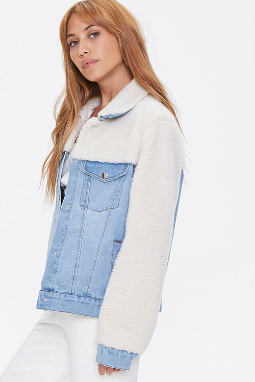 Faux Shearling-Trim Denim Jacket, image 2