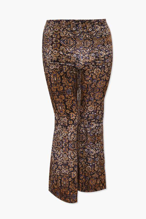 BLACK/TAN Plus Size Velvet Ornate Print Flare Pants, image 1