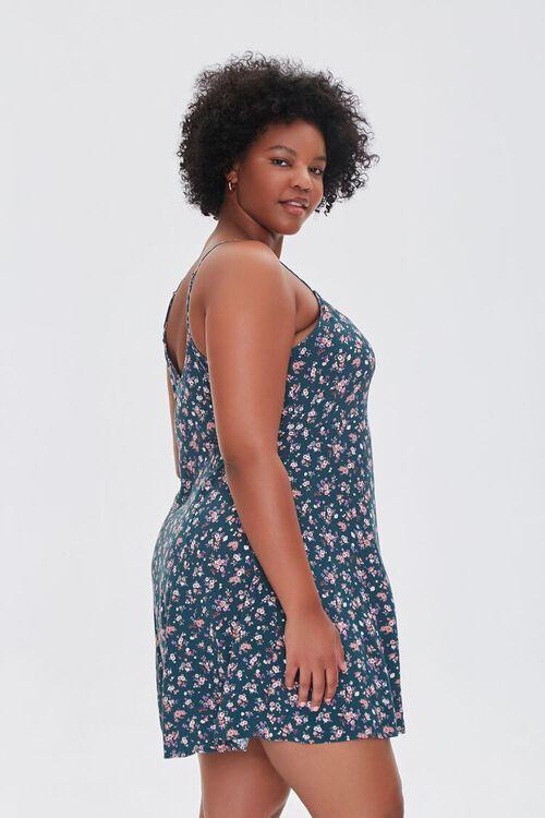 HUNTER GREEN/MULTI Plus Size Ditsy Floral Mini Dress, image 2
