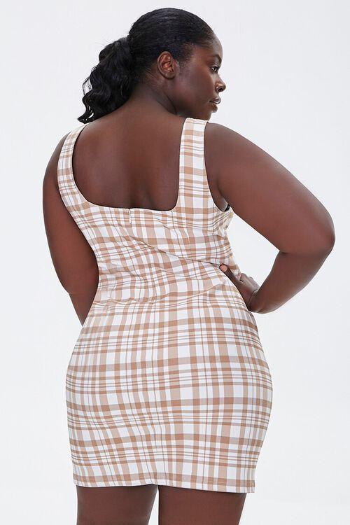 TAUPE/CREAM Plus Size Plaid Mini Dress, image 3