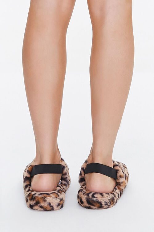 Faux Fur Leopard Print Indoor Slippers, image 3