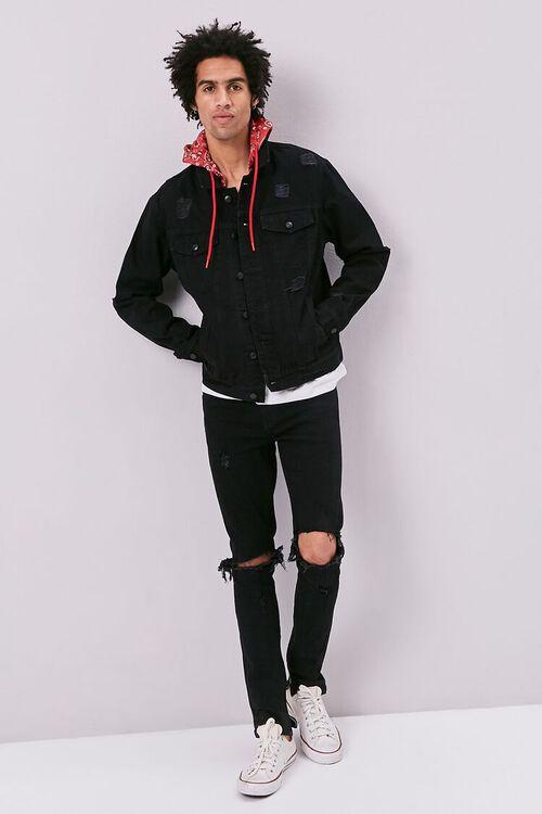 Bandana Print Hooded Denim Jacket, image 4