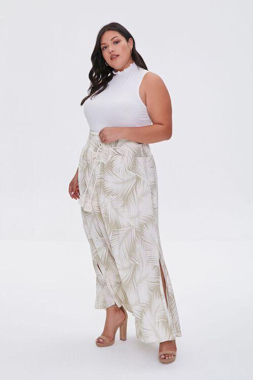 Plus Size Tropical Leaf M-Slit Skirt, image 4