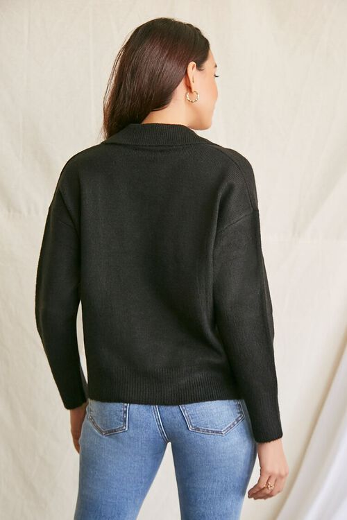 BLACK Brushed Split-Neck Sweater, image 3