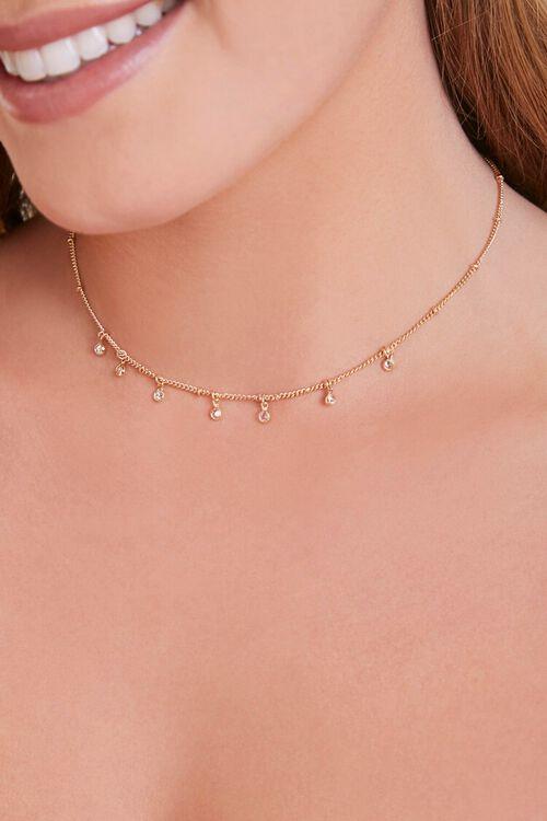 GOLD/CLEAR Faux Gem Charm Necklace, image 1