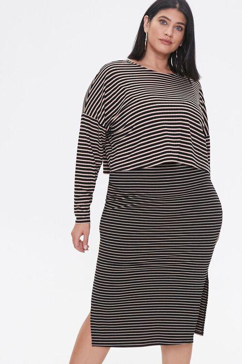 Plus Size Striped Top & Dress Set, image 4