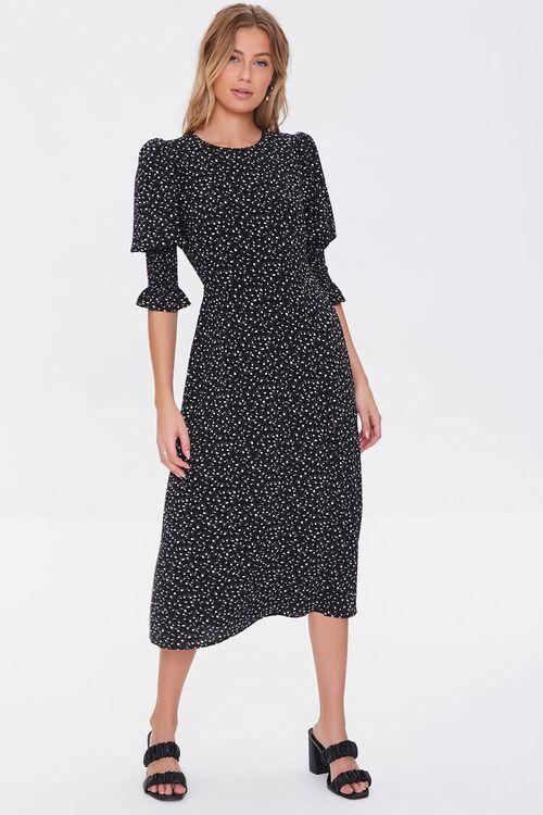 BLACK/CREAM Recycled Leaf Print Slit Dress, image 4