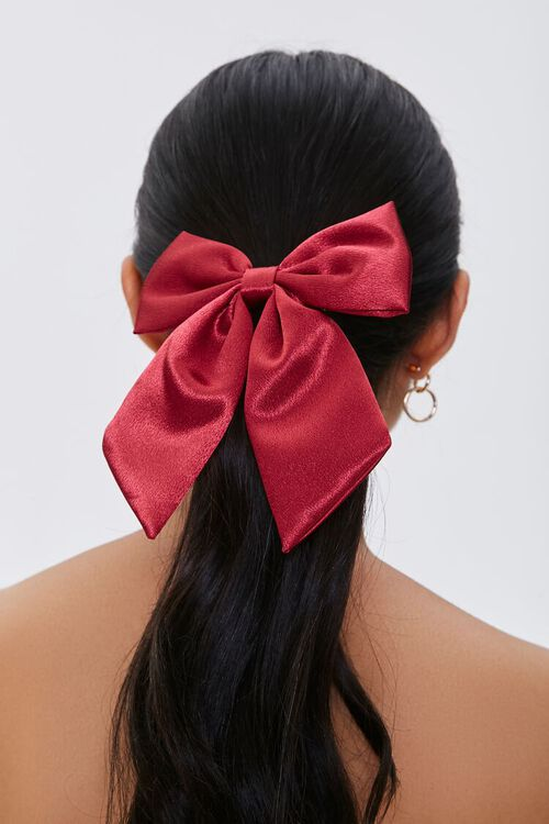 RED Bow Barrette Hair Clip, image 1