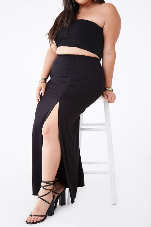 Plus Size Ruched Maxi Skirt, image 1