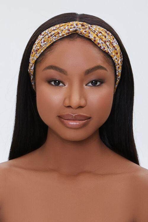 MUSTARD/MULTI Ditsy Floral Print Headwrap, image 2