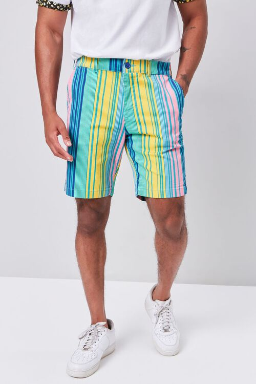 Multicolor Vertical Striped Shorts, image 2
