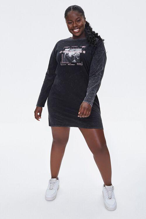 Plus Size Good Vibes Graphic T-Shirt Dress, image 4