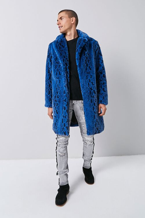 Faux Fur Snakeskin Print Coat, image 4