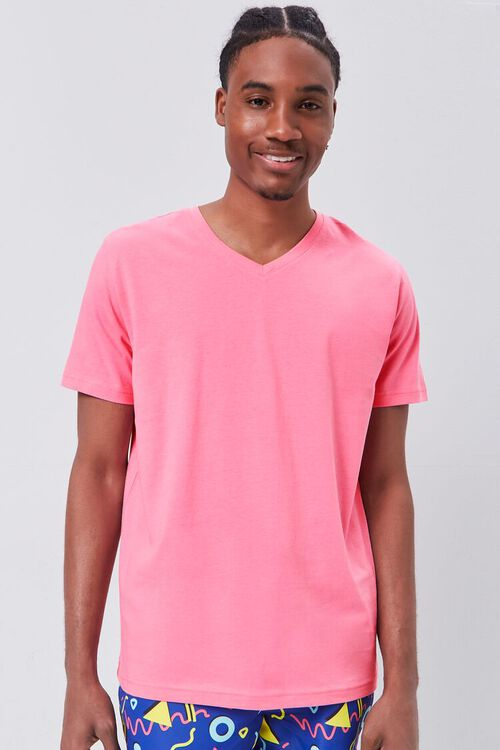 DUSTY PINK Basic Organically Grown Cotton V-Neck Tee, image 1