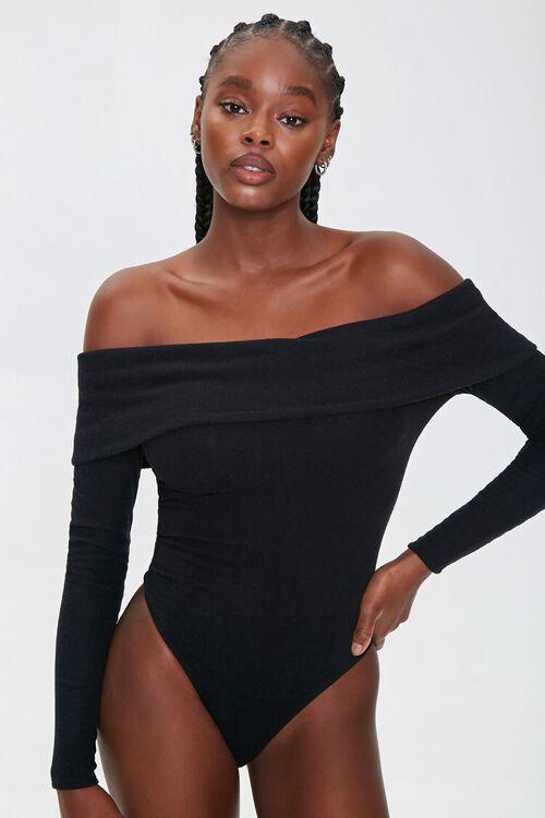 BLACK Ribbed Off-the-Shoulder Bodysuit, image 5