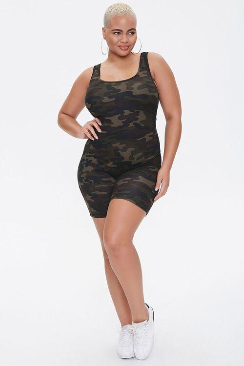 Plus Size Camo Print Romper, image 4