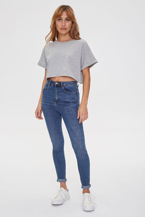 Cropped Cotton Crew Tee, image 4