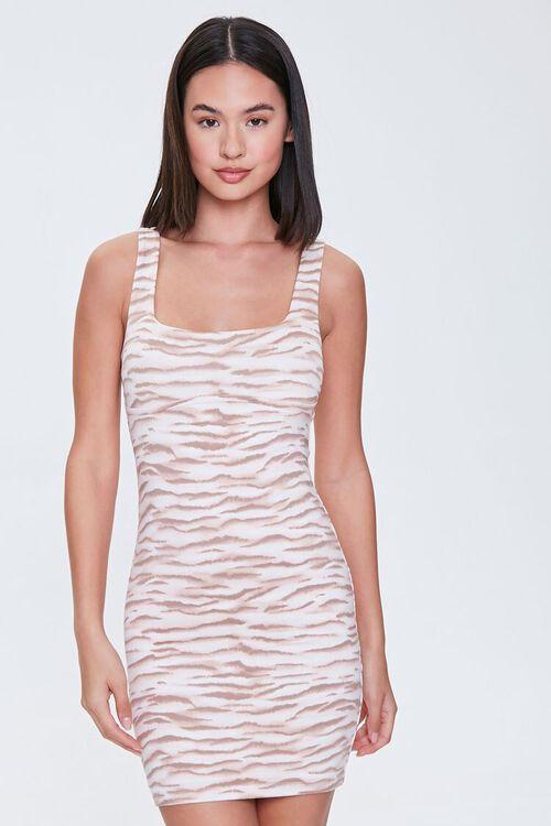 Tiger-Striped Mini Bodycon Dress, image 1
