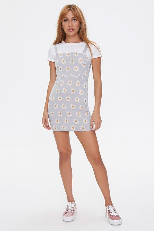 Daisy Print Overall Dress, image 4