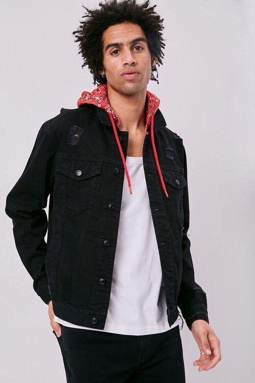 Bandana Print Hooded Denim Jacket, image 1