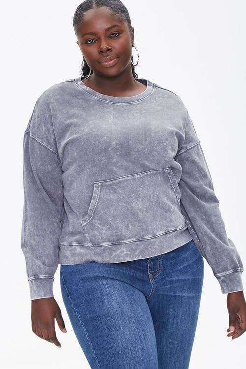 Plus Size Oil Wash Pullover, image 1