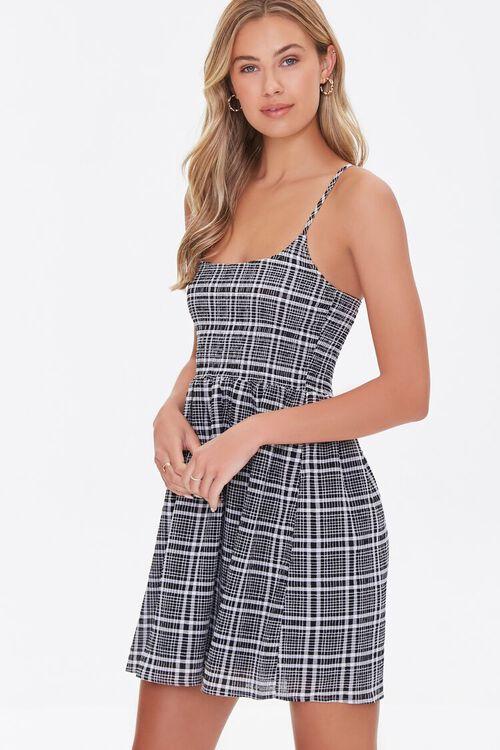 BLACK/CREAM Plaid Mini Cami Dress, image 1