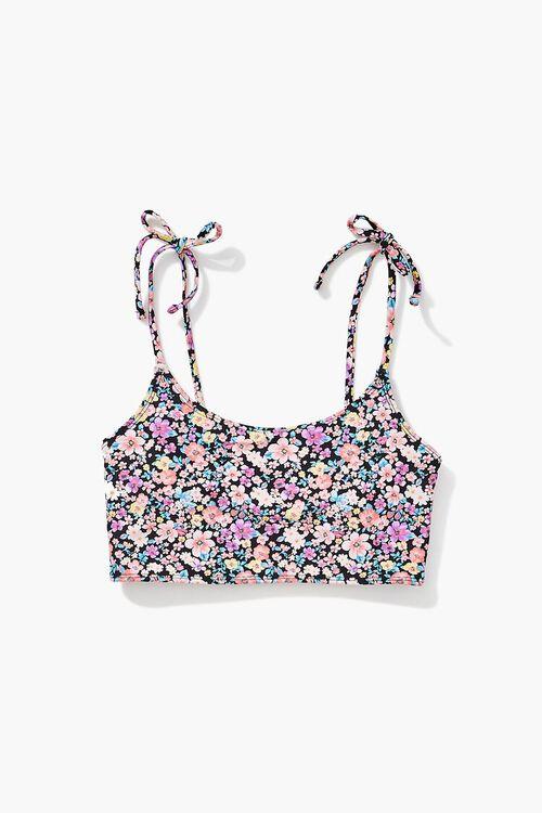 Floral Print Self-Tie Bralette Bikini Top, image 5