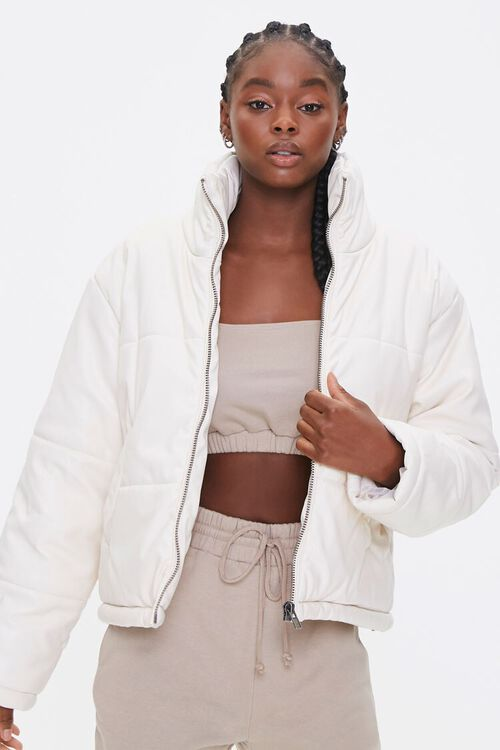 Faux Leather Puffer Jacket, image 1