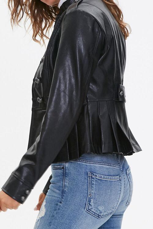 BLACK Faux Leather Bauble Jacket, image 2