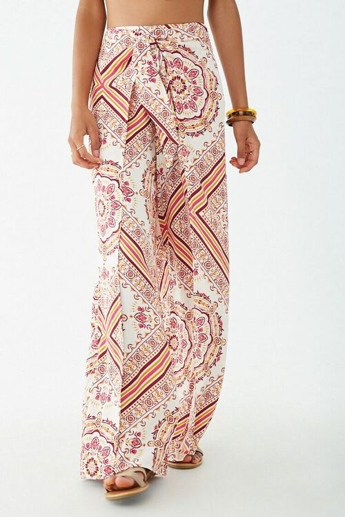 Ornate Print Knotted Overlay Pants, image 2