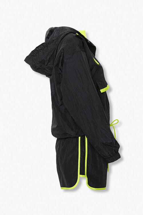 BLACK/LIME Contrast-Trim Anorak & Shorts Set, image 2