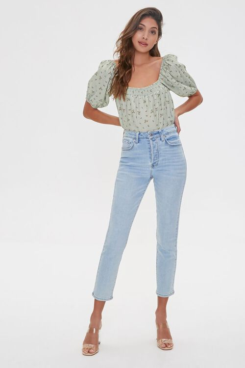 Floral Print Puff-Sleeve Top, image 4