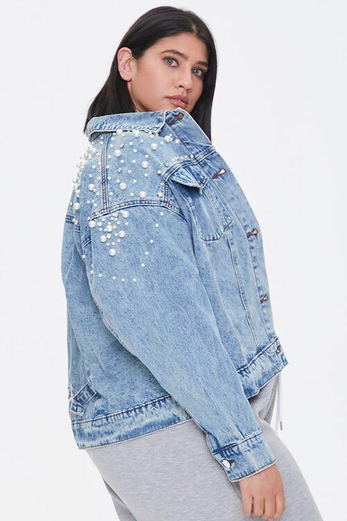 Plus Size Faux Pearl Denim Jacket, image 2
