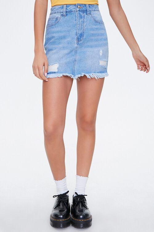 Frayed Denim Mini Skirt, image 2