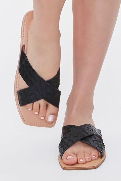 Crisscross Square-Toe Flat Sandals, image 4