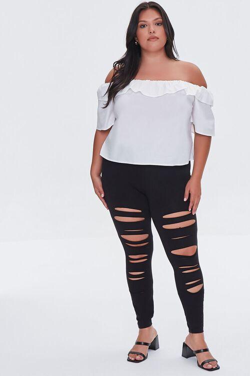 BLACK Plus Size Ripped Leggings, image 1