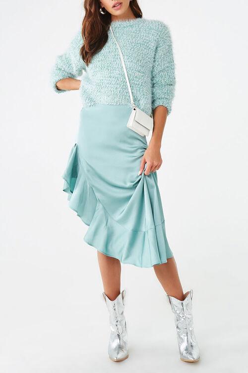 Satin Ruffled High-Low Skirt, image 1