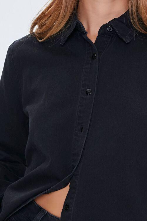 Denim Curved-Hem Shirt, image 5