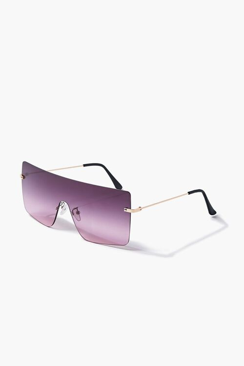 GOLD/PINK Ombre Shield Sunglasses, image 2