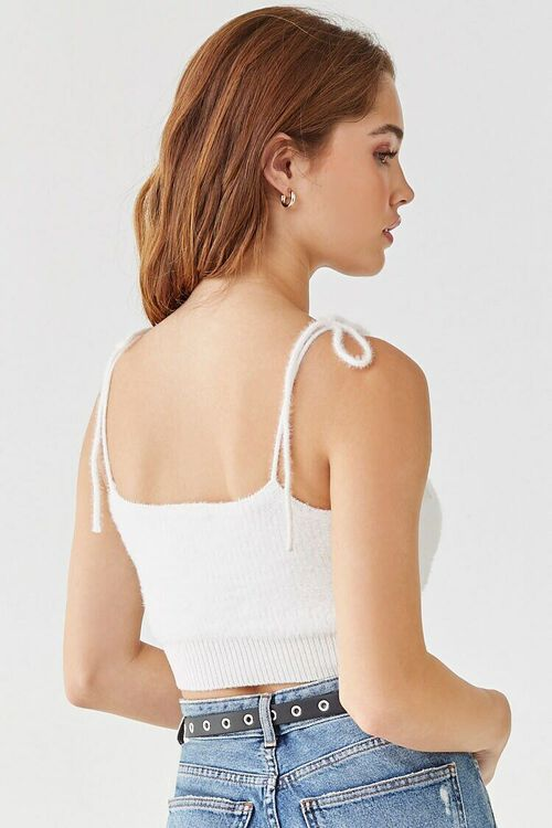 IVORY Fuzzy Sweater-Knit Cropped Cami, image 3