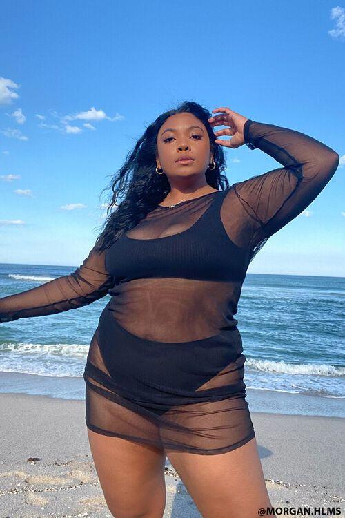 Plus Size Mesh Swim Cover-Up Dress, image 1