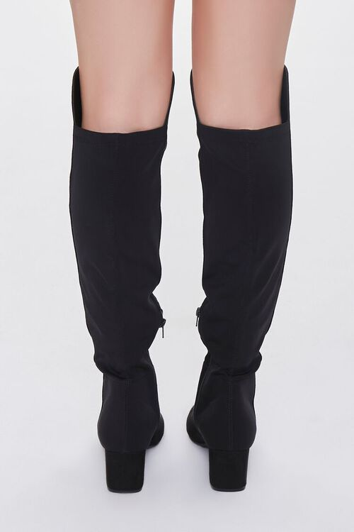 BLACK Faux Suede Knee-High Boots, image 3