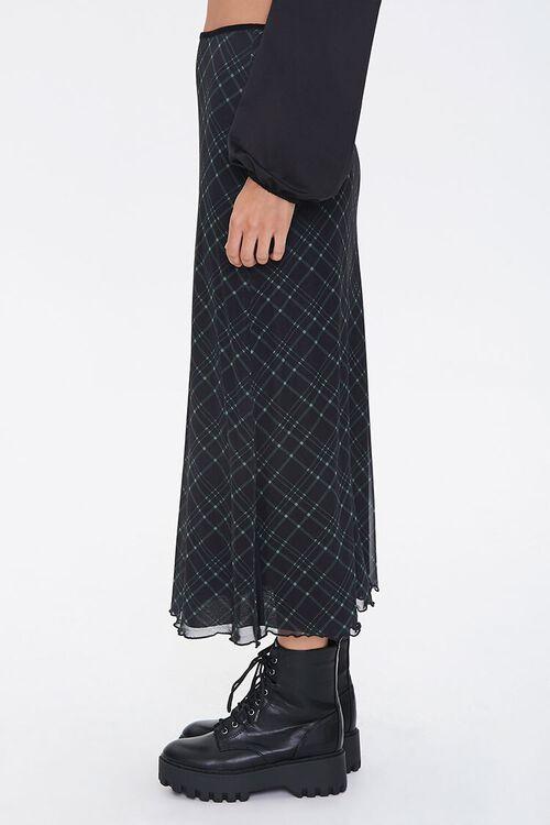 BLACK/MULTI Plaid A-Line Midi Skirt, image 3