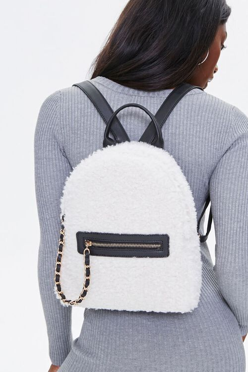 Faux Shearling Backpack, image 1