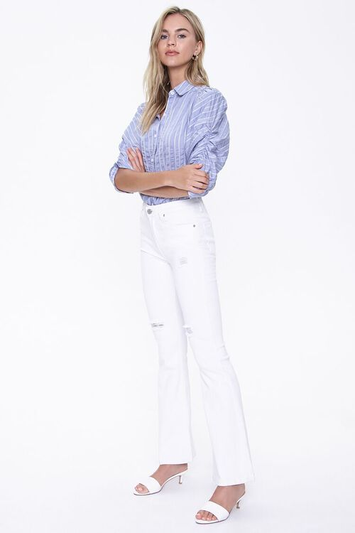 BLUE/WHITE Striped Ruched-Sleeve Shirt, image 4