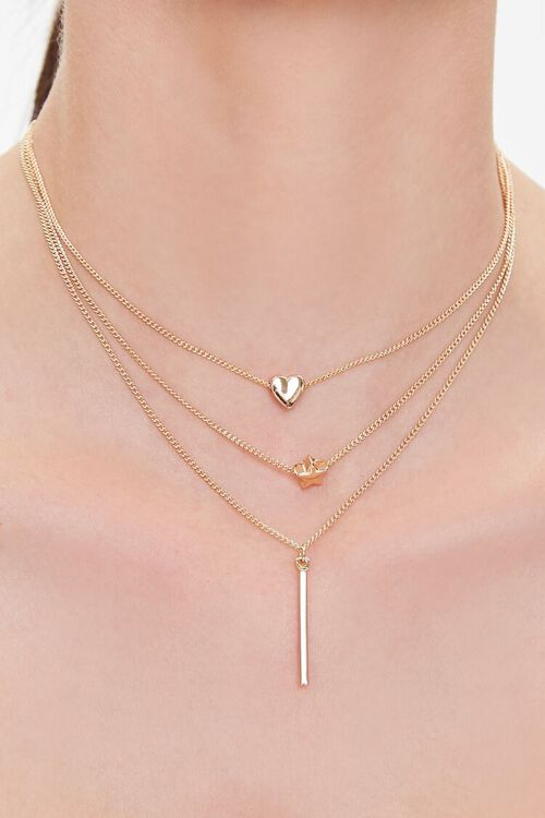 GOLD Heart & Bar Charm Layered Necklace, image 1