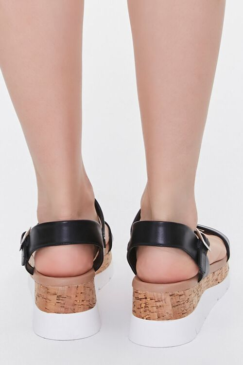 BLACK Faux Leather Open-Toe Wedges, image 3