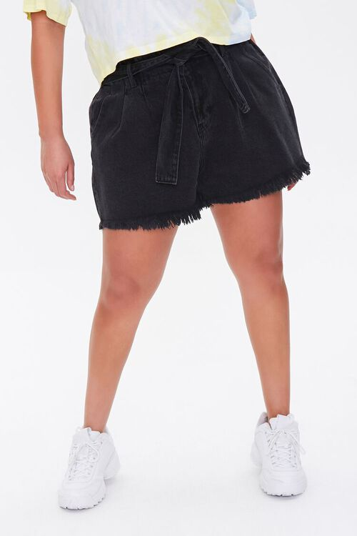 Plus Size Denim Paperbag Shorts, image 2